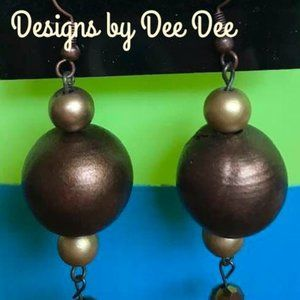 Antique Gold Hook & Bead Drop Earrings